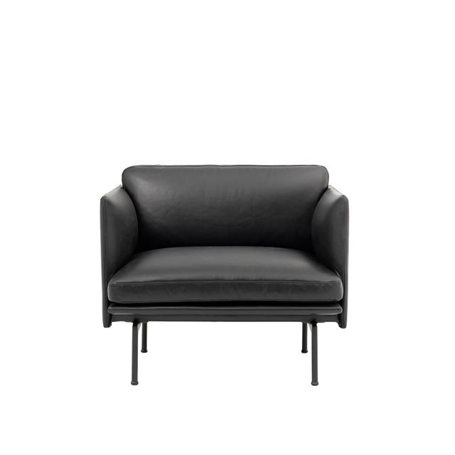 Muuto Outline Sessel Leder Gepolstert Schwarz/ Schwarze Basis